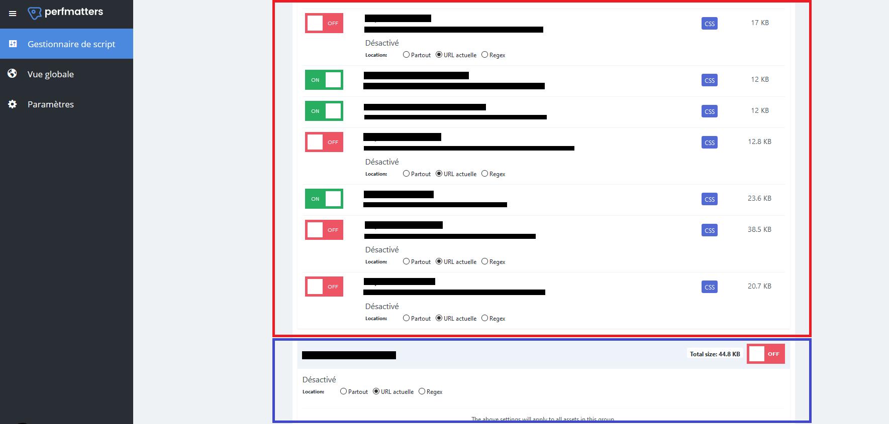 Exemple de chargement spécifique de ses plugins grâce a perfmatters