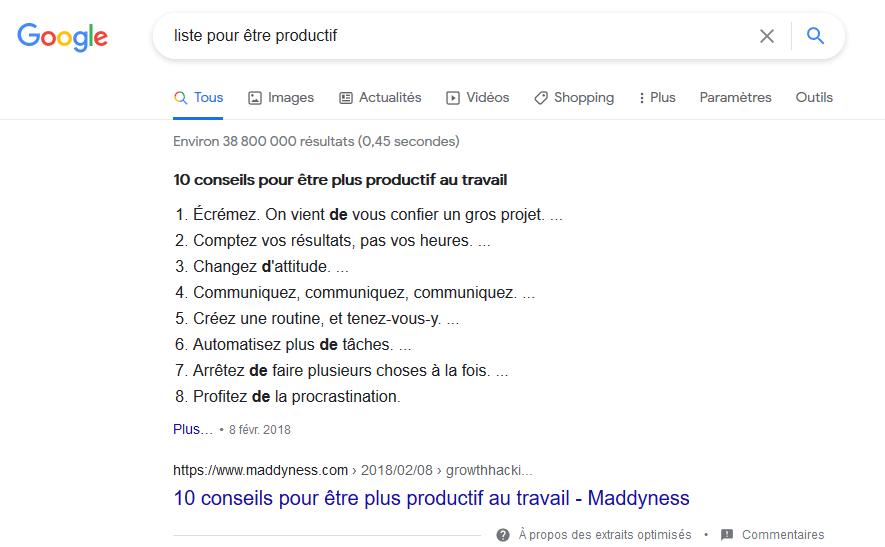 Exemple de rich snippets naturel sur Google