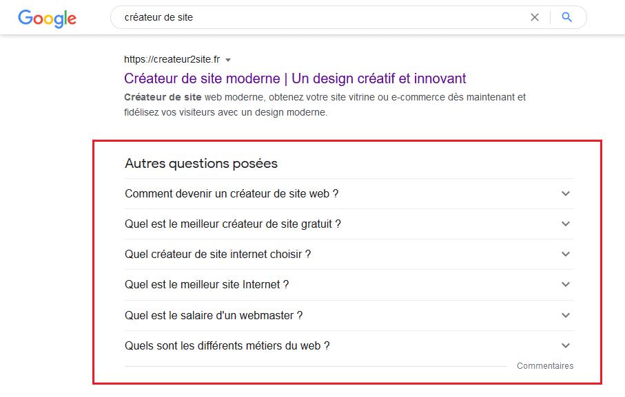 Vue d'une page Google montrant des extraits de vedette FAQ