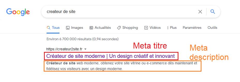Screenshot de meta titre et meta description sur Google