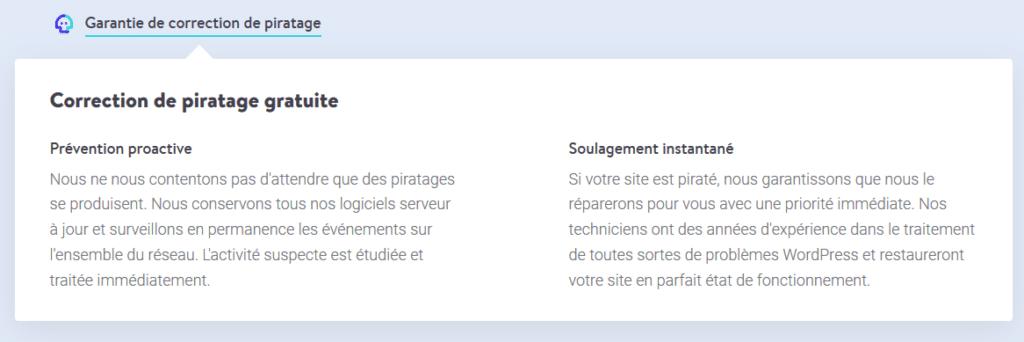 Kinsta garantie la sécurité des sites WordPress en garantissant la correction des sites piratés