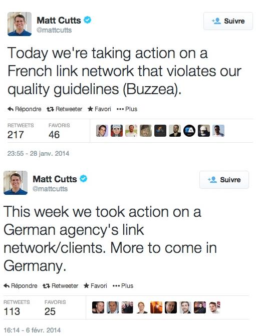 Matt Cutts rappelle les guidelines des backlinks sur twitter